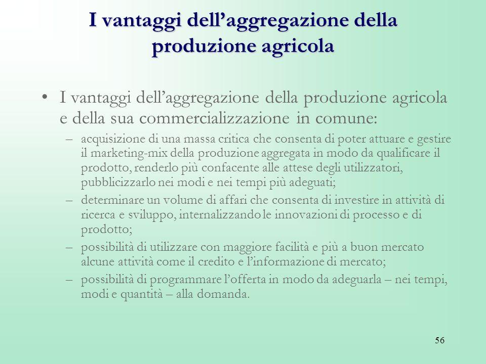 56 I vantaggi dellaggregazione della produzione agricola I vantaggi dellaggregazione della produzione agricola e della sua commercializzazione in comu