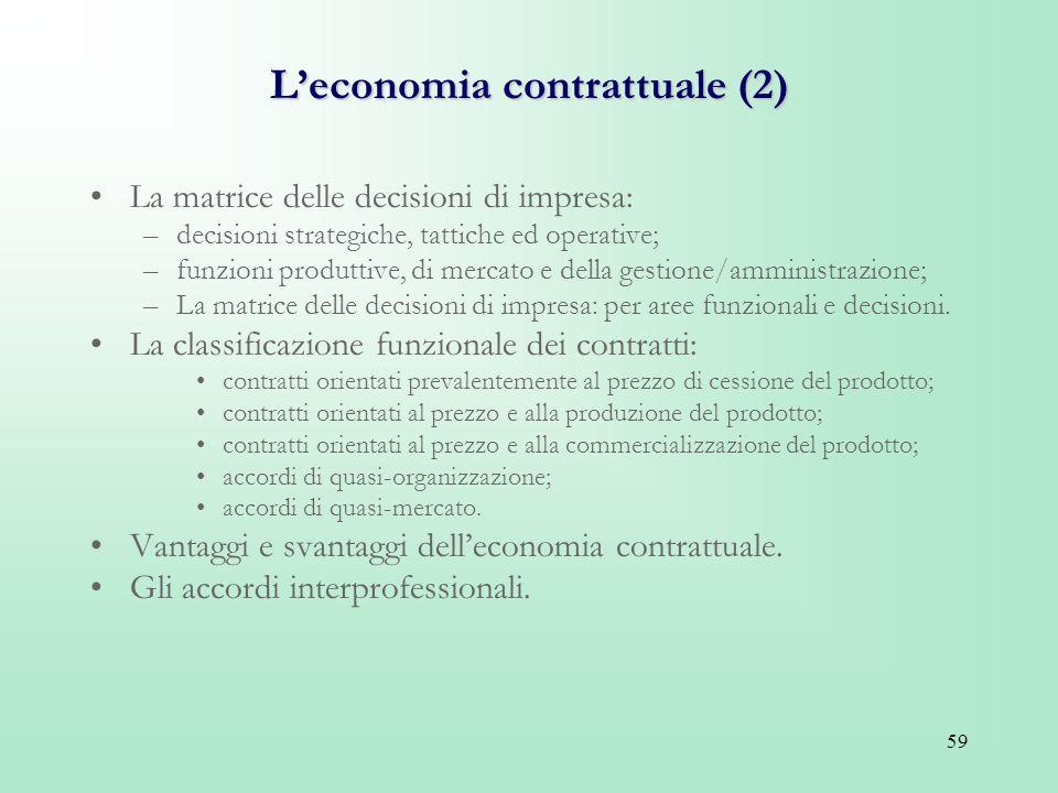 59 Leconomia contrattuale (2) La matrice delle decisioni di impresa: –decisioni strategiche, tattiche ed operative; –funzioni produttive, di mercato e
