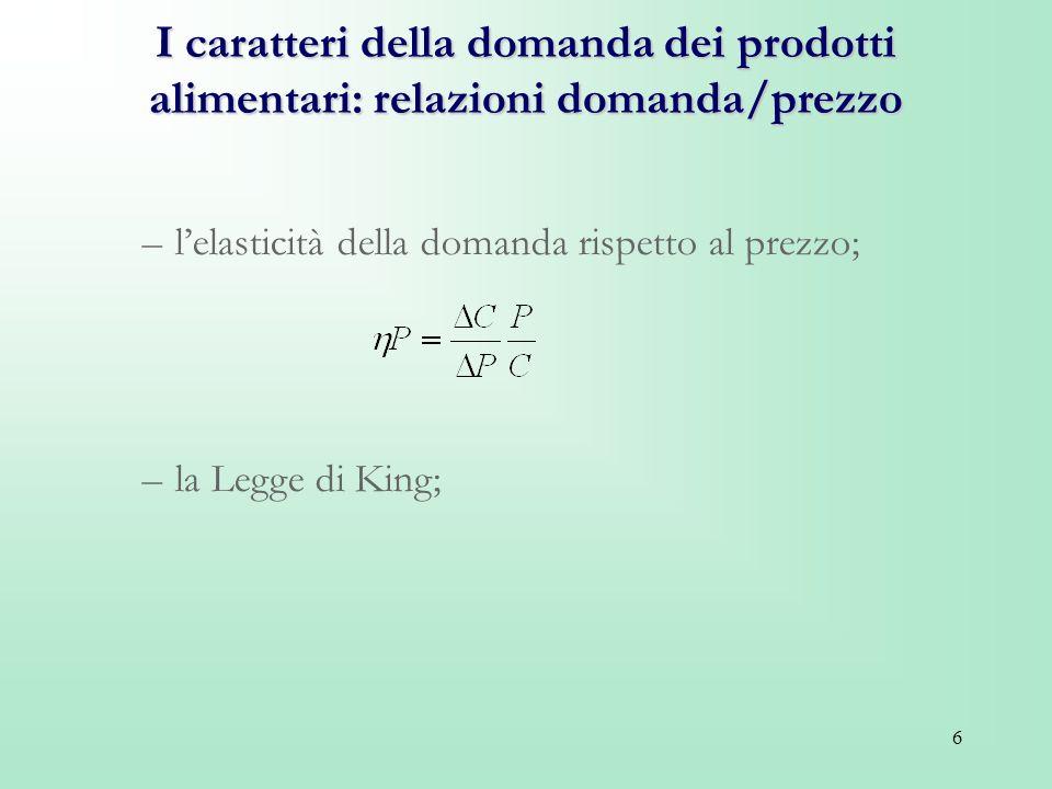 6 I caratteri della domanda dei prodotti alimentari: relazioni domanda/prezzo –lelasticità della domanda rispetto al prezzo; –la Legge di King;