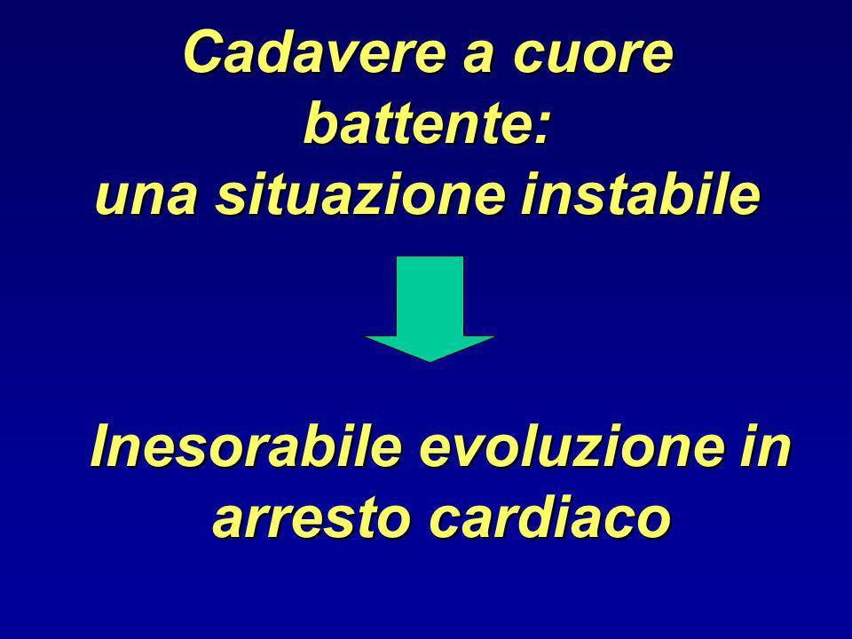 Cadavere a cuore battente: una situazione instabile Inesorabile evoluzione in arresto cardiaco