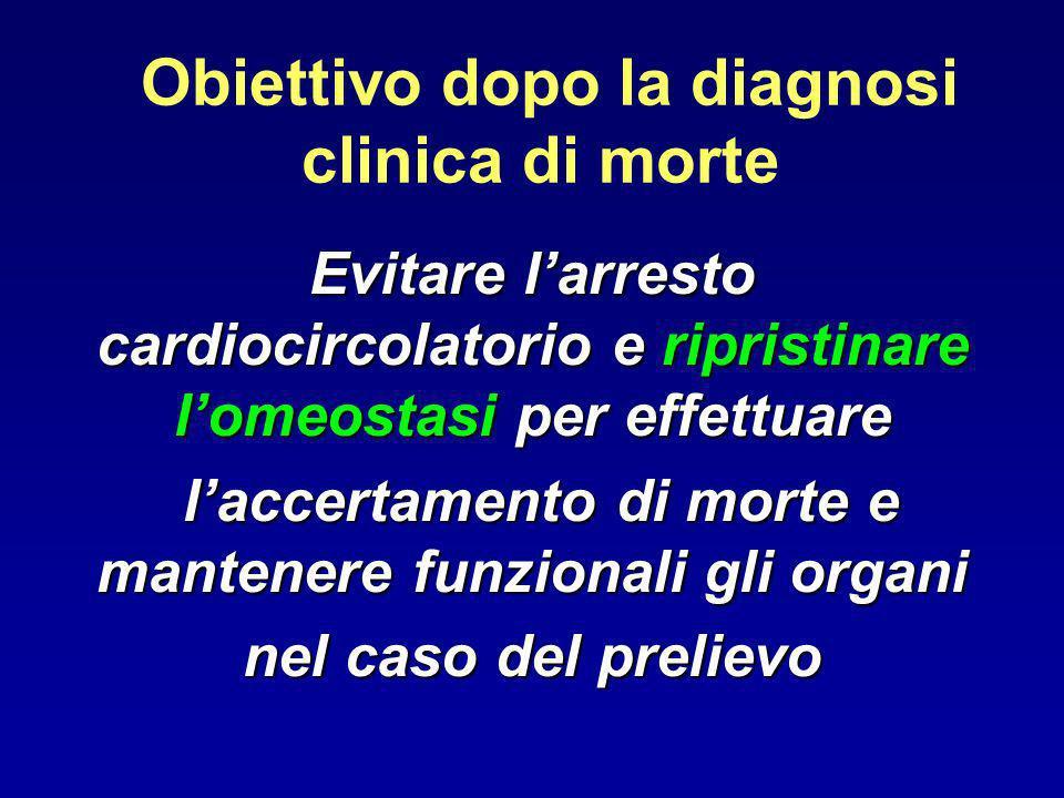 Obiettivo dopo la diagnosi clinica di morte Evitare larresto cardiocircolatorio e ripristinare lomeostasi per effettuare laccertamento di morte e mant