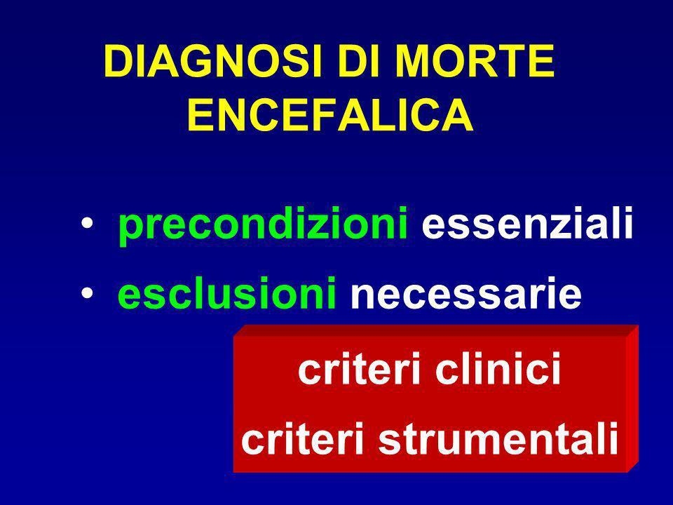 DIAGNOSI DI MORTE ENCEFALICA precondizioni essenziali esclusioni necessarie criteri clinici criteri strumentali