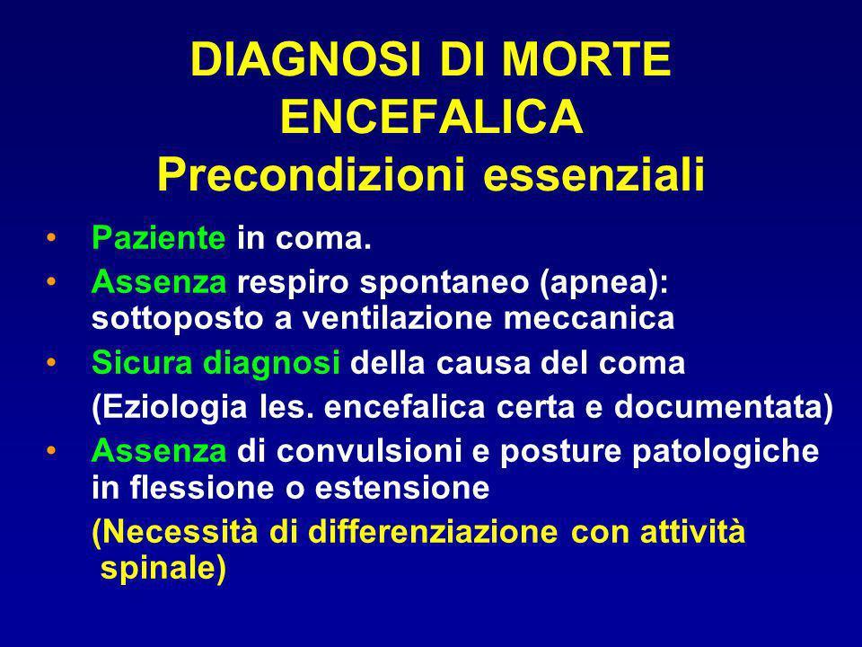 DIAGNOSI DI MORTE ENCEFALICA Precondizioni essenziali Paziente in coma. Assenza respiro spontaneo (apnea): sottoposto a ventilazione meccanica Sicura