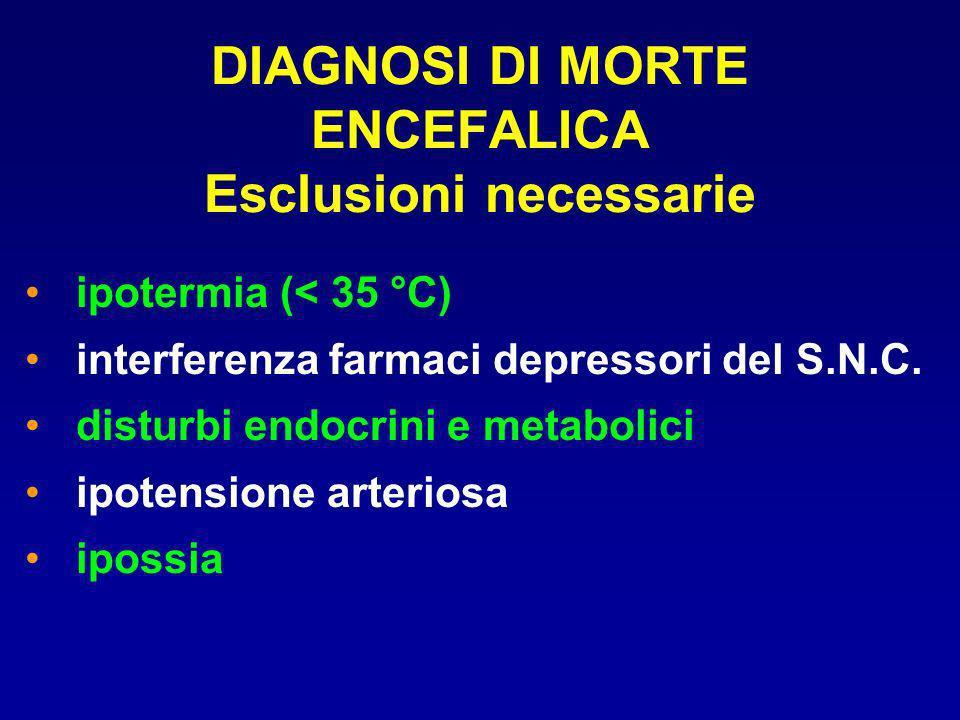 DIAGNOSI DI MORTE ENCEFALICA Esclusioni necessarie ipotermia (< 35 °C) interferenza farmaci depressori del S.N.C. disturbi endocrini e metabolici ipot