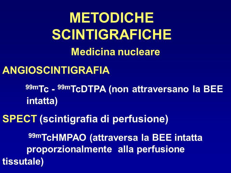METODICHE SCINTIGRAFICHE Medicina nucleare ANGIOSCINTIGRAFIA 99m Tc - 99m TcDTPA (non attraversano la BEE intatta) SPECT (scintigrafia di perfusione)