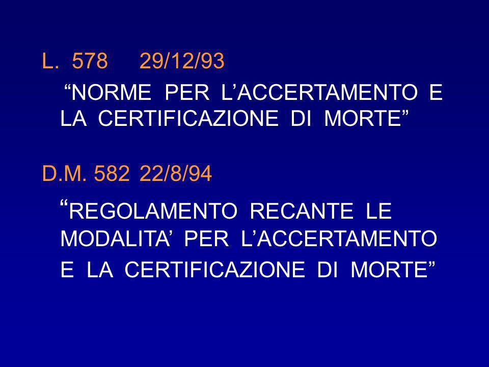 L. 578 29/12/93 NORME PER LACCERTAMENTO E LA CERTIFICAZIONE DI MORTE D.M. 582 22/8/94 REGOLAMENTO RECANTE LE MODALITA PER LACCERTAMENTO E LA CERTIFICA