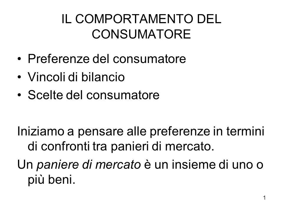 1 IL COMPORTAMENTO DEL CONSUMATORE Preferenze del consumatore Vincoli di bilancio Scelte del consumatore Iniziamo a pensare alle preferenze in termini