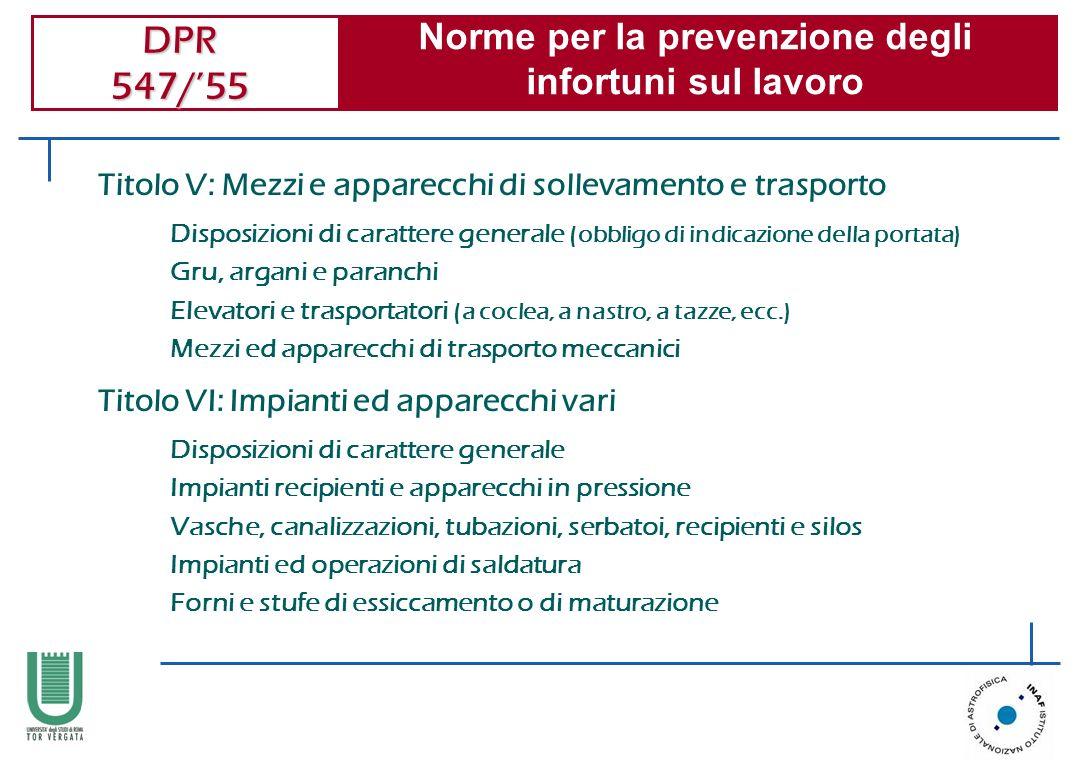 DPR 547/55 Norme per la prevenzione degli infortuni sul lavoro Disposizioni di carattere generale (obbligo di indicazione della portata) Gru, argani e