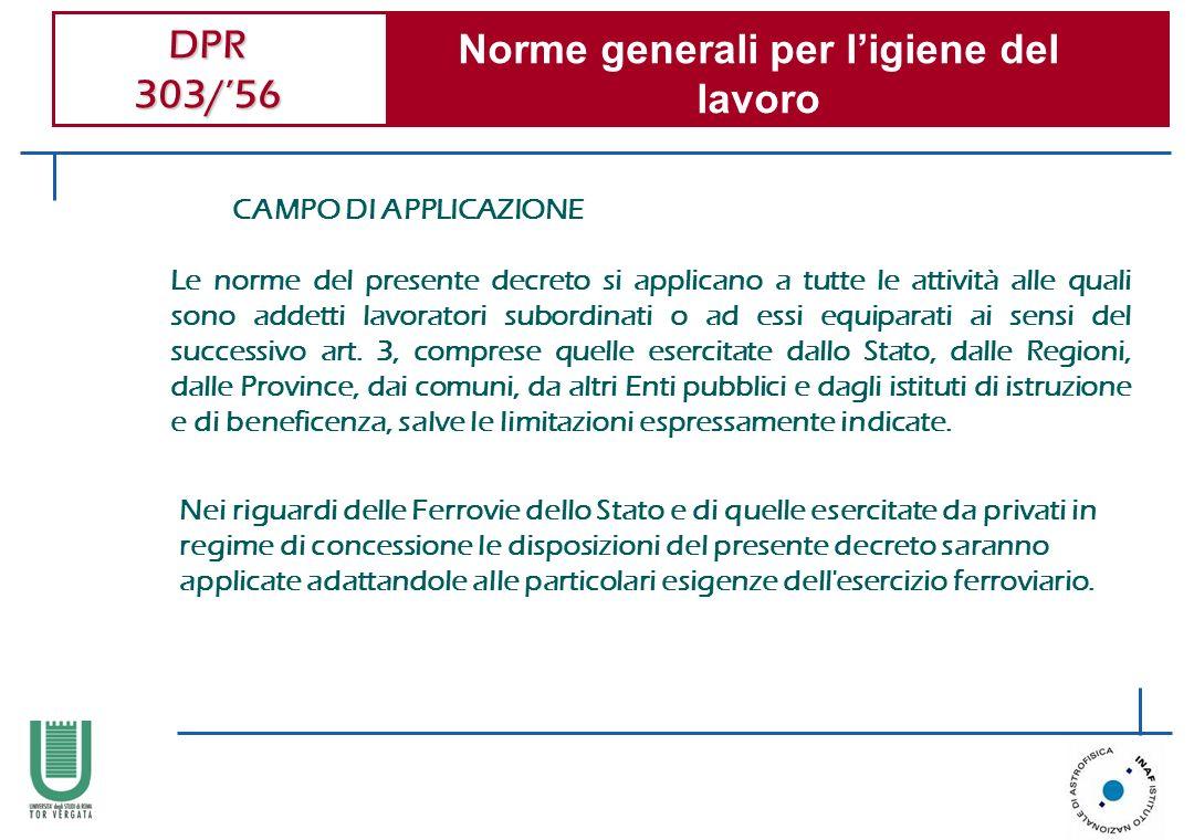 DPR 303/56 Norme generali per ligiene del lavoro CAMPO DI APPLICAZIONE Le norme del presente decreto si applicano a tutte le attività alle quali sono