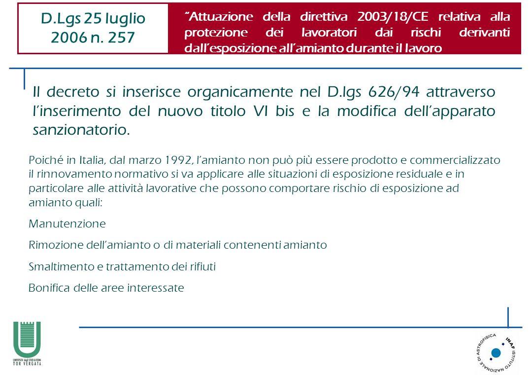 Il decreto si inserisce organicamente nel D.lgs 626/94 attraverso linserimento del nuovo titolo VI bis e la modifica dellapparato sanzionatorio. D.Lgs