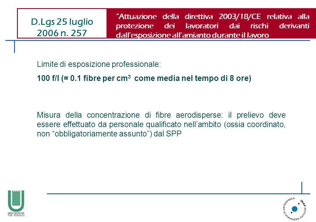 D.Lgs 25 luglio 2006 n. 257 Attuazione della direttiva 2003/18/CE relativa alla protezione dei lavoratori dai rischi derivanti dallesposizione allamia