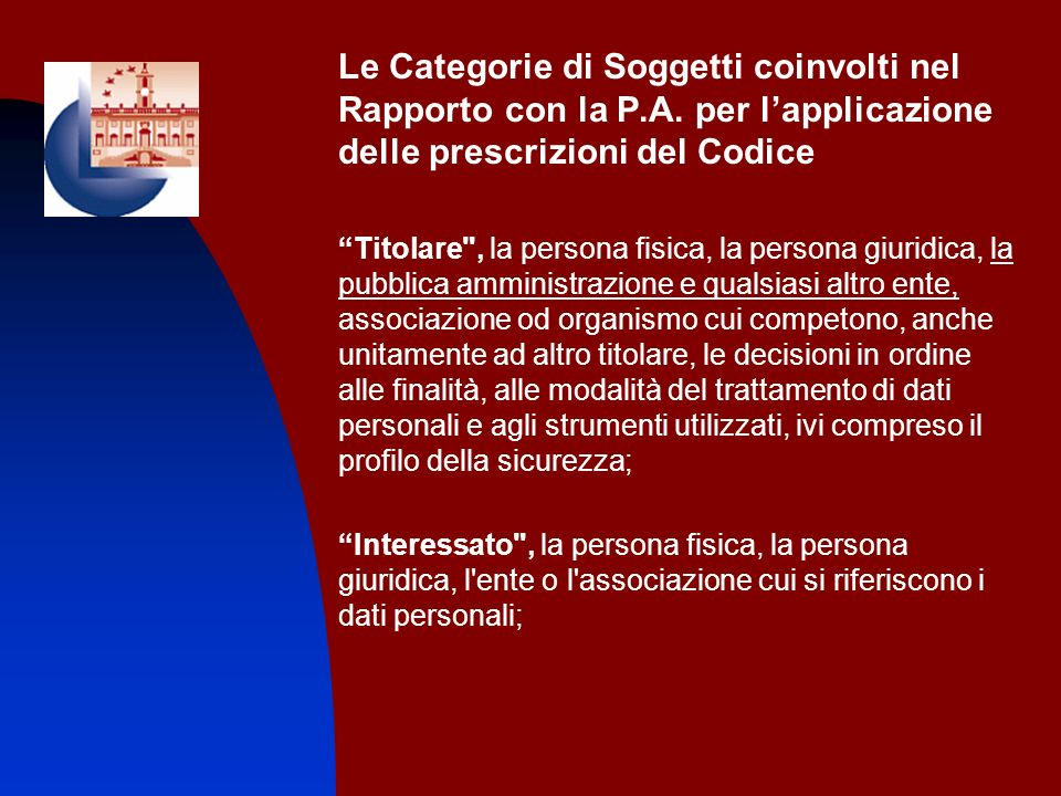 Le Categorie di Soggetti coinvolti nel Rapporto con la P.A. per lapplicazione delle prescrizioni del Codice Titolare