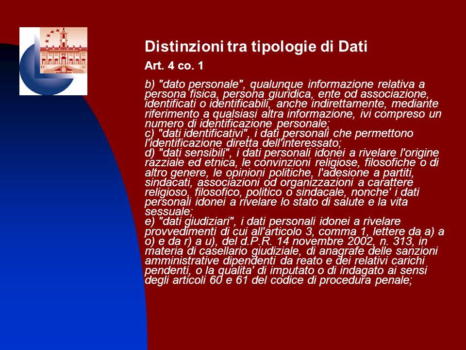 Distinzioni tra tipologie di Dati Art. 4 co. 1 b)