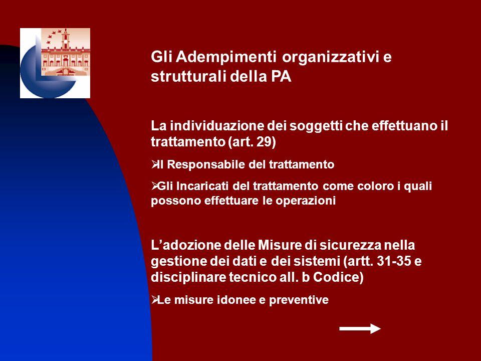Gli Adempimenti organizzativi e strutturali della PA La individuazione dei soggetti che effettuano il trattamento (art. 29) Il Responsabile del tratta
