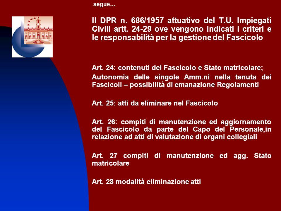 segue… Il DPR n. 686/1957 attuativo del T.U. Impiegati Civili artt. 24-29 ove vengono indicati i criteri e le responsabilità per la gestione del Fasci