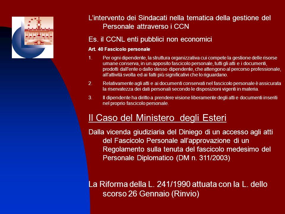1. Lintervento dei Sindacati nella tematica della gestione del Personale attraverso i CCN Es. il CCNL enti pubblici non economici Art. 40 Fascicolo pe
