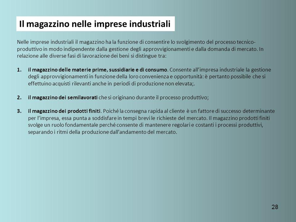28 Il magazzino nelle imprese industriali Nelle imprese industriali il magazzino ha la funzione di consentire lo svolgimento del processo tecnico- pro