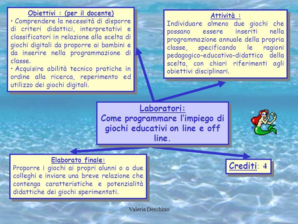 Valeria Deschino Obiettivi : (per il docente) Comprendere la necessità di disporre di criteri didattici, interpretativi e classificatori in relazione