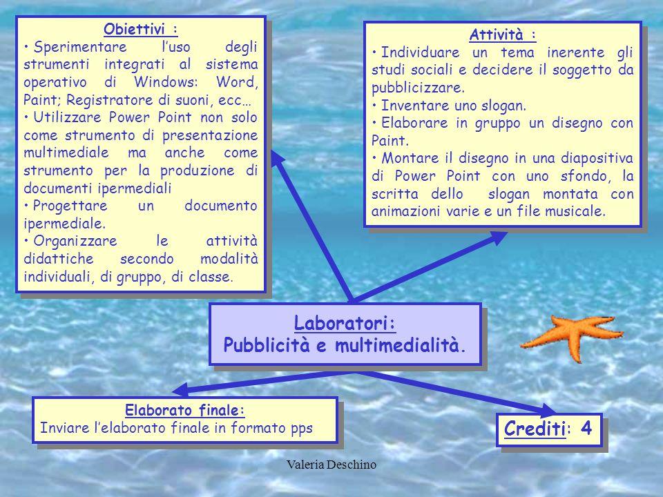 Valeria Deschino Obiettivi : Sperimentare luso degli strumenti integrati al sistema operativo di Windows: Word, Paint; Registratore di suoni, ecc… Uti