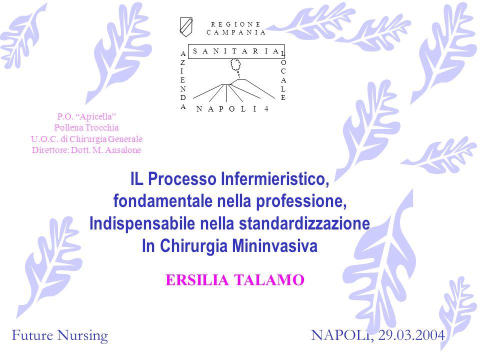 Future Nursing In chirurgia Laparoscopica tutti gli strumenti del PROCESSO INFERMIERISTICO divengono fondamentali