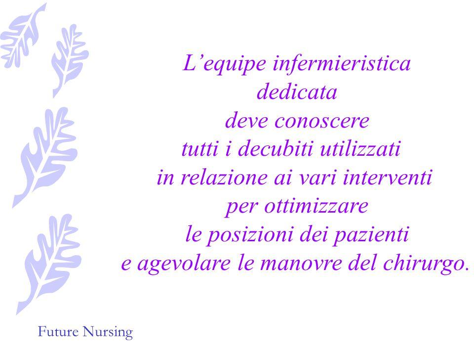 Future Nursing Il minor trauma dei tessuti il minor tempo di intervento e di anestesia, la rapidità di ripresa dei pazienti sottoposti ad interventi d