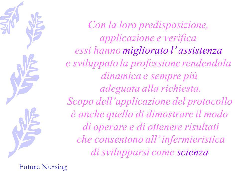 Future Nursing protocolli infermieristi Uniformare i comportamenti di tutti Garantire un assistenza corretta innovativa basata sulle più recenti acqui
