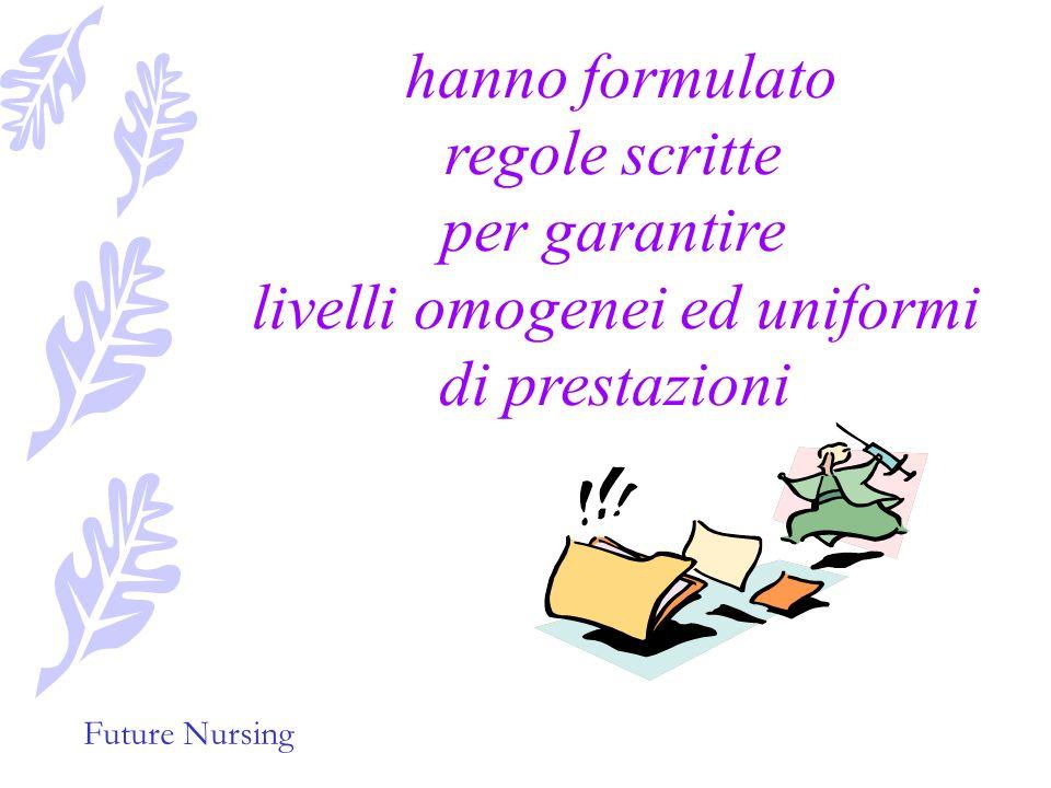 Future Nursing Hanno identificato i contenuti del proprio lavoro e le rispettive responsabilità,