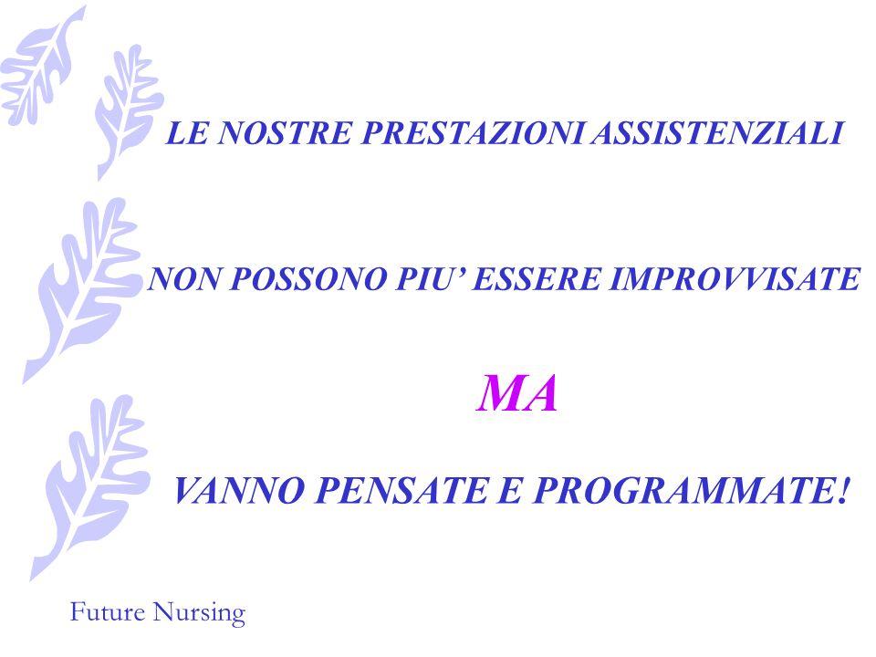 Future Nursing Il loro punto di partenza è stato il processo di assistenza infermieristica che mira a stabilire una diagnosi infermieristica, ad elaborare e predisporre il piano di assistenza, i loro protocolli sono divenuti lo strumento che permette di realizzare cio