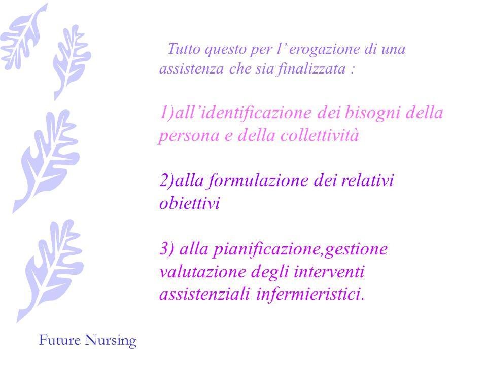Future Nursing Tutto questo per l erogazione di una assistenza che sia finalizzata : 1)allidentificazione dei bisogni della persona e della collettività 2)alla formulazione dei relativi obiettivi 3) alla pianificazione,gestione valutazione degli interventi assistenziali infermieristici.