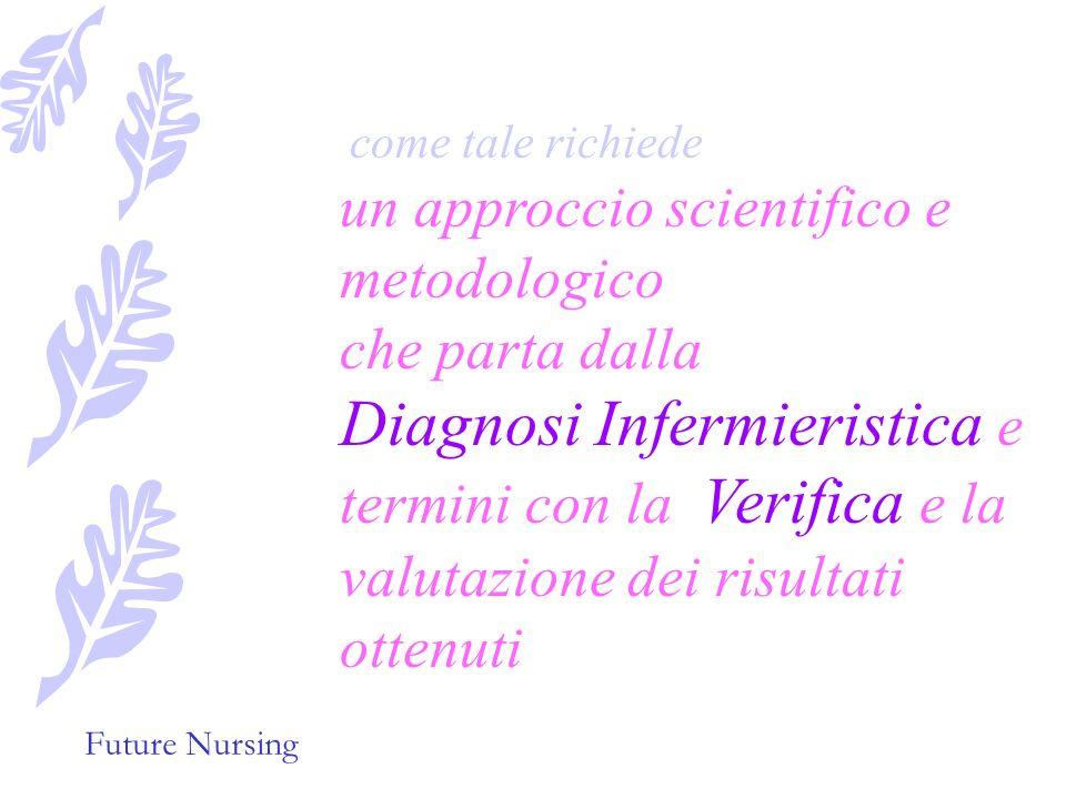 Future Nursing come tale richiede un approccio scientifico e metodologico che parta dalla Diagnosi Infermieristica e termini con la Verifica e la valutazione dei risultati ottenuti