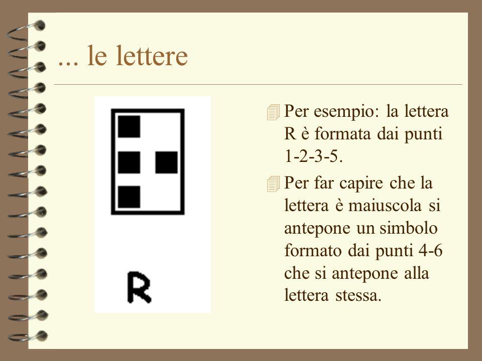 ... le lettere 4 Per esempio: la lettera R è formata dai punti 1-2-3-5. 4 Per far capire che la lettera è maiuscola si antepone un simbolo formato dai
