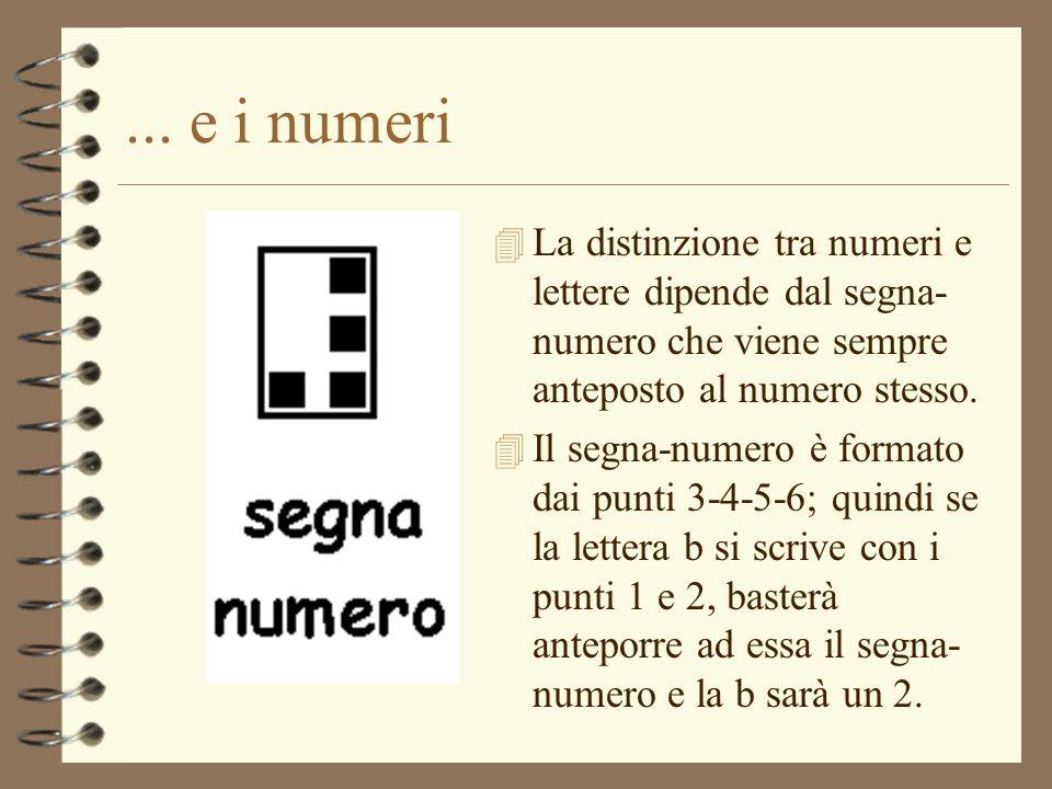 ... e i numeri 4 La distinzione tra numeri e lettere dipende dal segna- numero che viene sempre anteposto al numero stesso. 4 Il segna-numero è format
