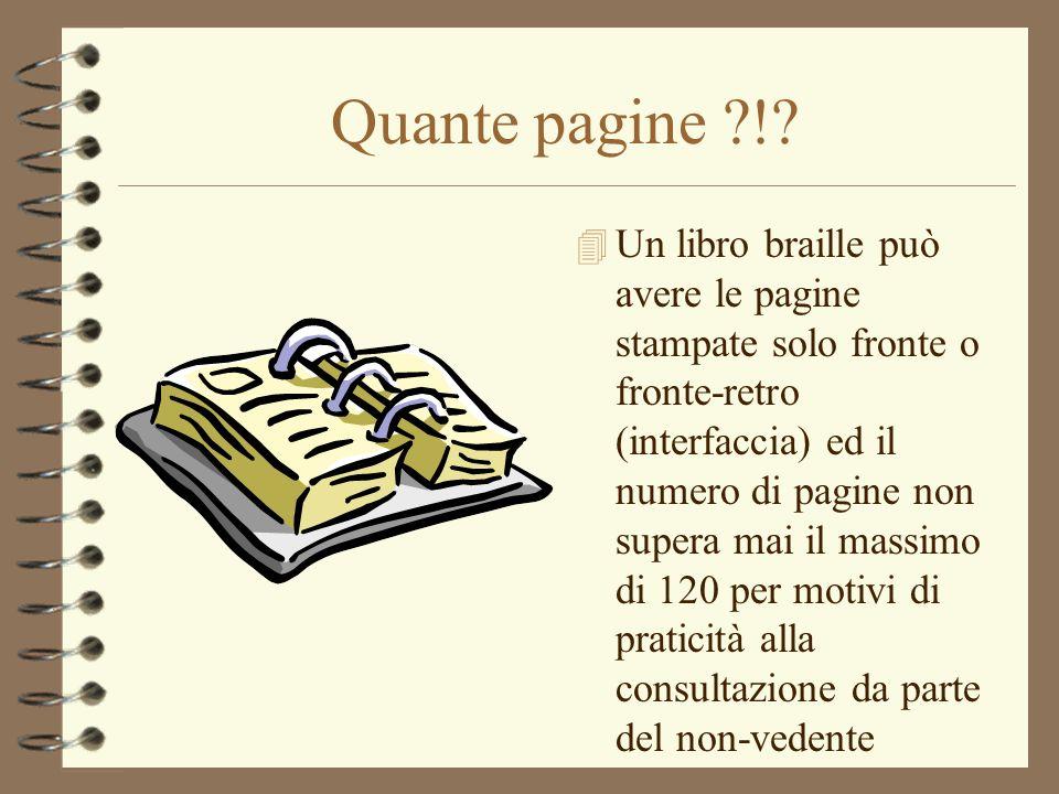Quante pagine ?!? 4 Un libro braille può avere le pagine stampate solo fronte o fronte-retro (interfaccia) ed il numero di pagine non supera mai il ma