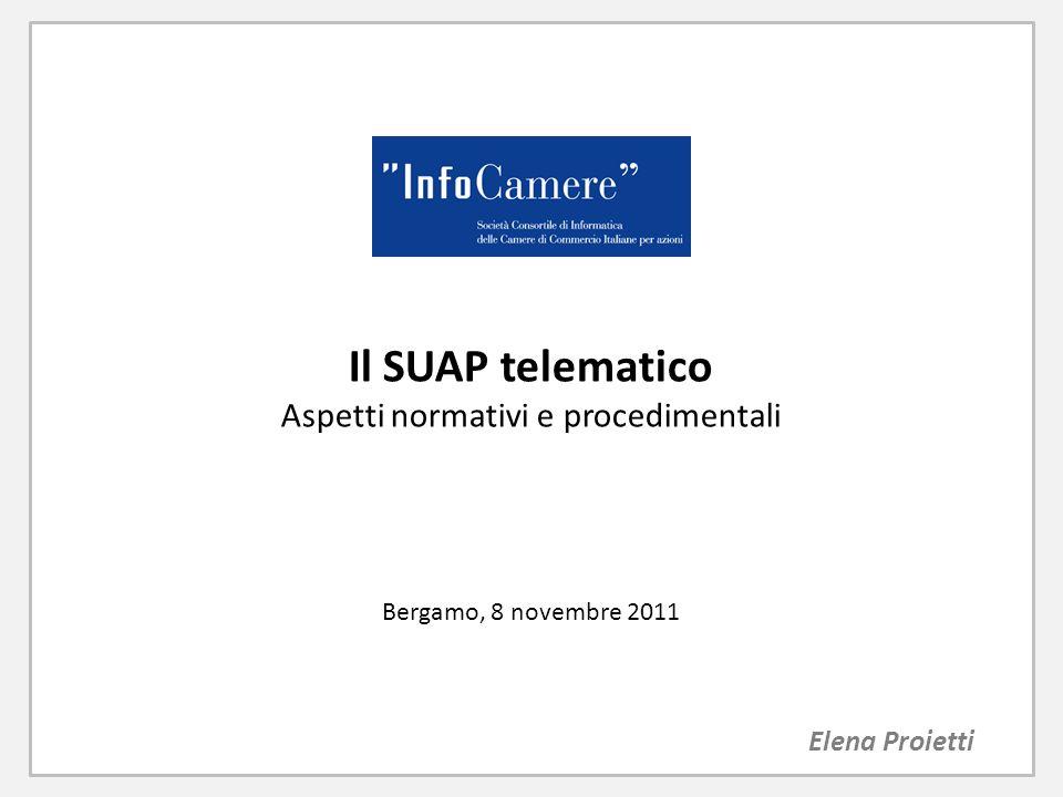 Il SUAP telematico Aspetti normativi e procedimentali Bergamo, 8 novembre 2011 Elena Proietti