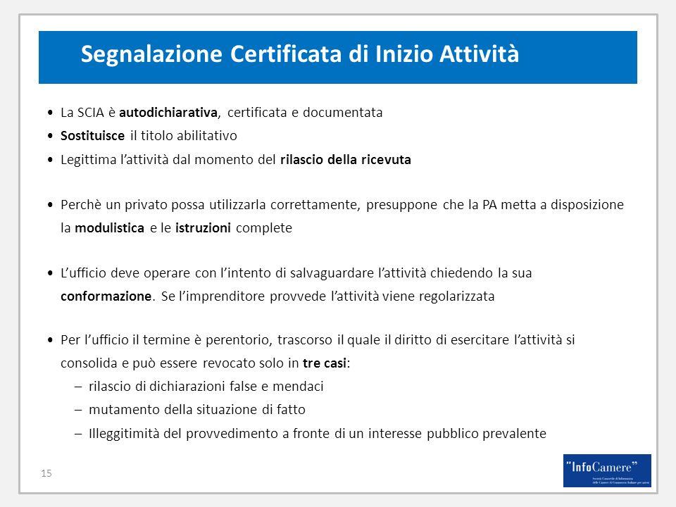 15 La SCIA è autodichiarativa, certificata e documentata Sostituisce il titolo abilitativo Legittima lattività dal momento del rilascio della ricevuta