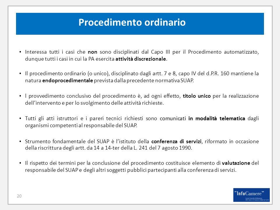 20 Procedimento ordinario Interessa tutti i casi che non sono disciplinati dal Capo III per il Procedimento automatizzato, dunque tutti i casi in cui