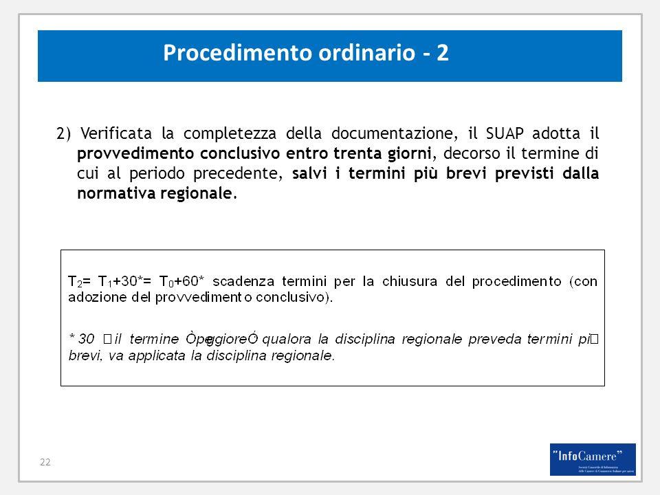 22 Procedimento ordinario - 2 2) Verificata la completezza della documentazione, il SUAP adotta il provvedimento conclusivo entro trenta giorni, decor