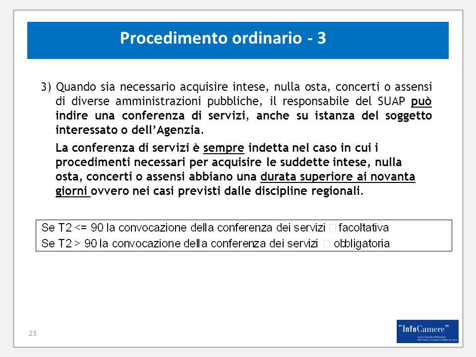 23 Procedimento ordinario - 3 3) Quando sia necessario acquisire intese, nulla osta, concerti o assensi di diverse amministrazioni pubbliche, il respo