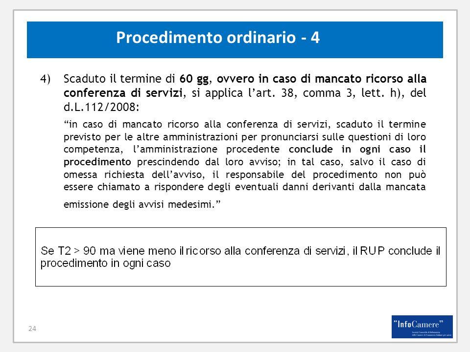 24 Procedimento ordinario - 4 4)Scaduto il termine di 60 gg, ovvero in caso di mancato ricorso alla conferenza di servizi, si applica lart. 38, comma
