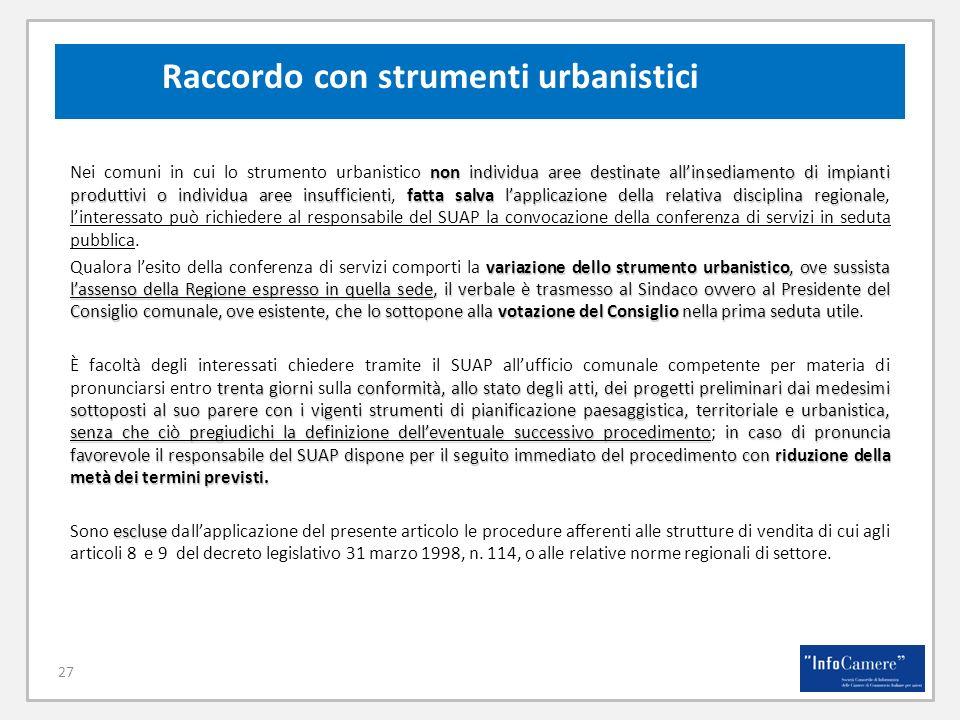 27 Raccordo con strumenti urbanistici non individua aree destinate allinsediamento di impianti produttivi o individua aree insufficientifatta salva la