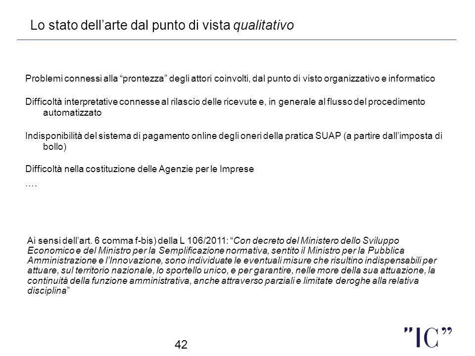 42 Lo stato dellarte dal punto di vista qualitativo Problemi connessi alla prontezza degli attori coinvolti, dal punto di visto organizzativo e inform