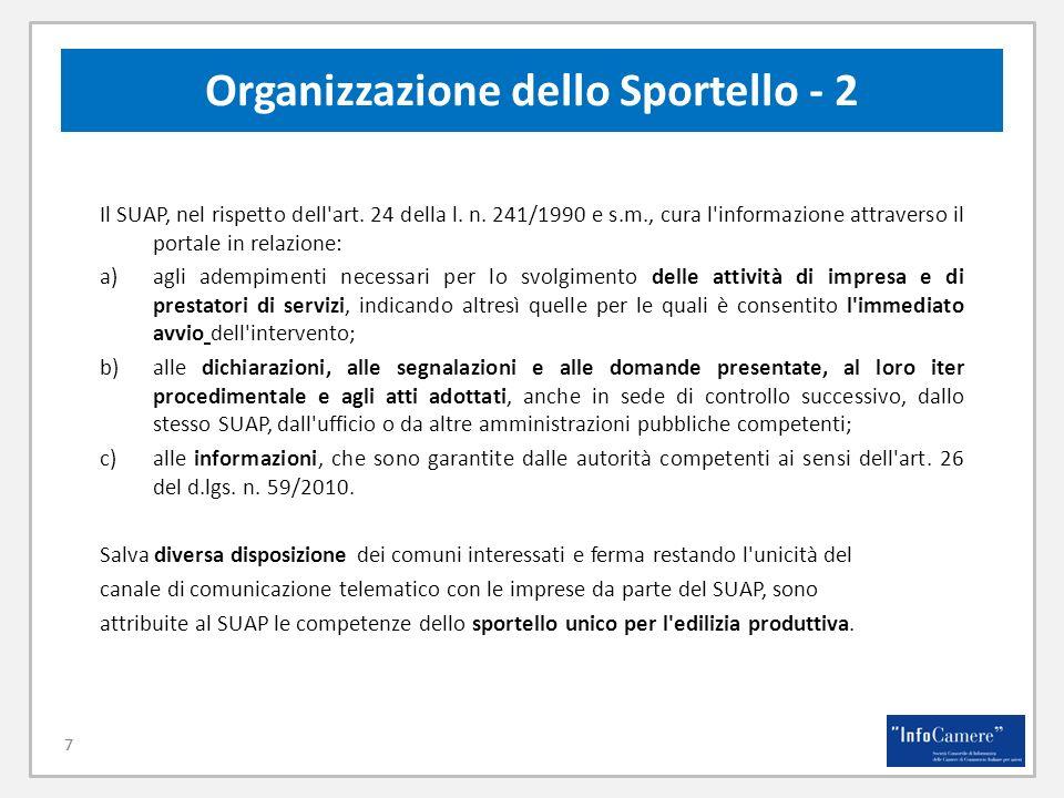 7 Organizzazione dello Sportello - 2 7 Il SUAP, nel rispetto dell'art. 24 della l. n. 241/1990 e s.m., cura l'informazione attraverso il portale in re