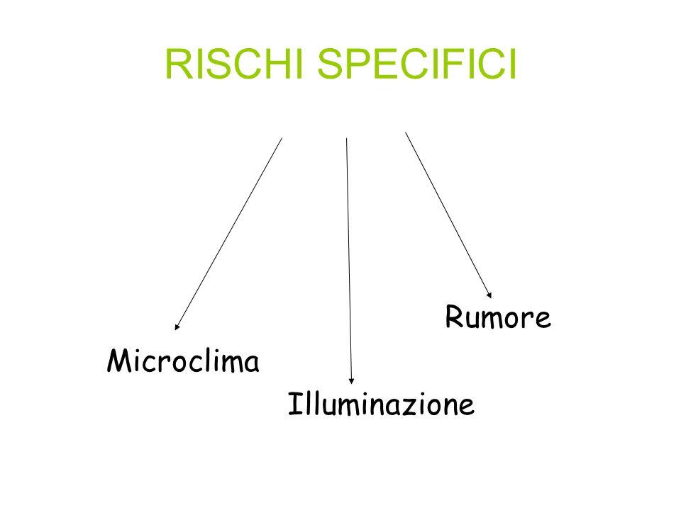 RISCHI SPECIFICI Rumore Microclima Illuminazione