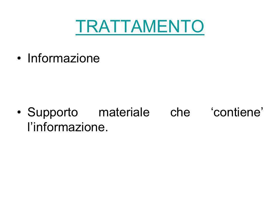 TRATTAMENTO Informazione Supporto materiale che contiene linformazione.