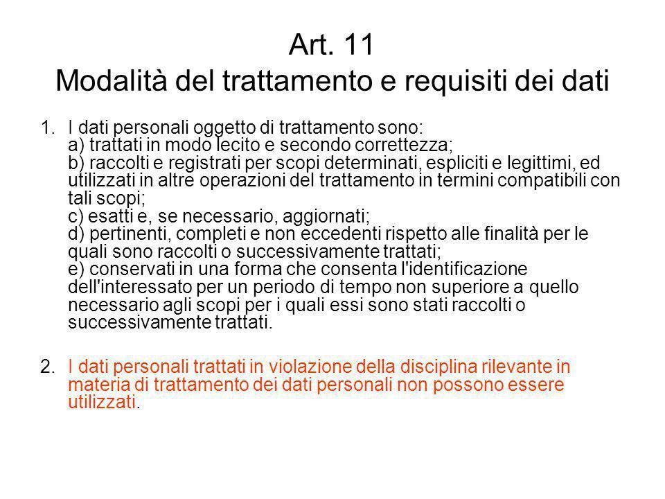 Art. 11 Modalità del trattamento e requisiti dei dati 1.I dati personali oggetto di trattamento sono: a) trattati in modo lecito e secondo correttezza