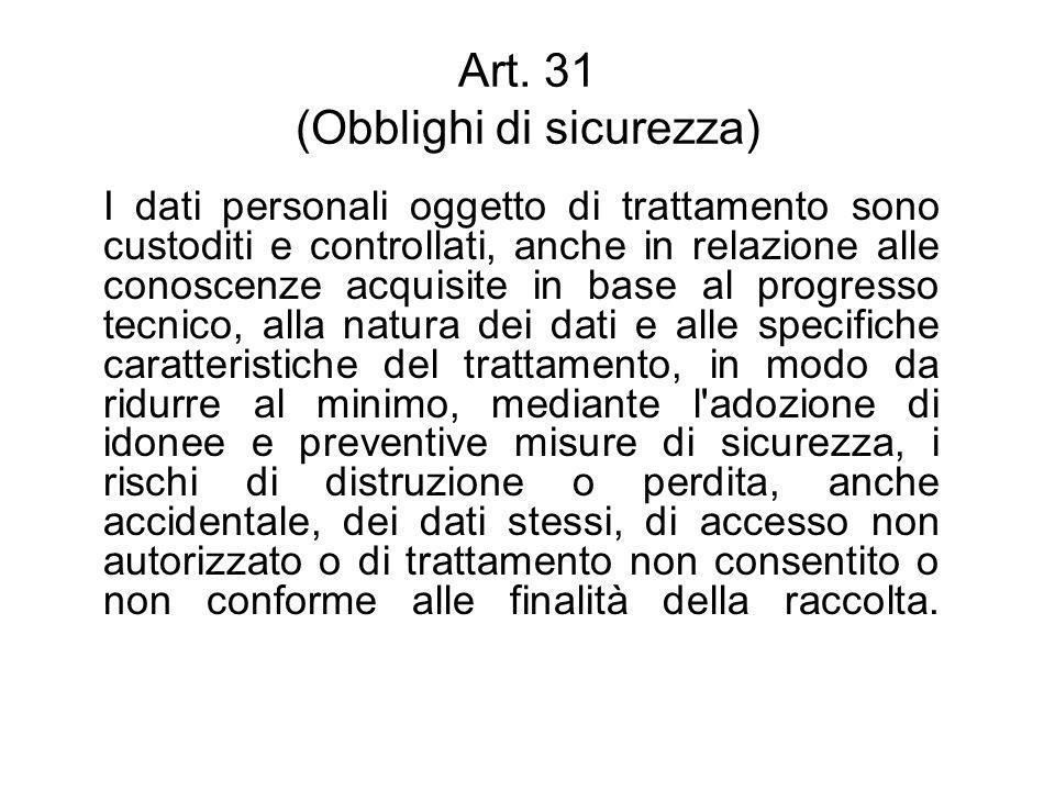 Art. 31 (Obblighi di sicurezza) I dati personali oggetto di trattamento sono custoditi e controllati, anche in relazione alle conoscenze acquisite in
