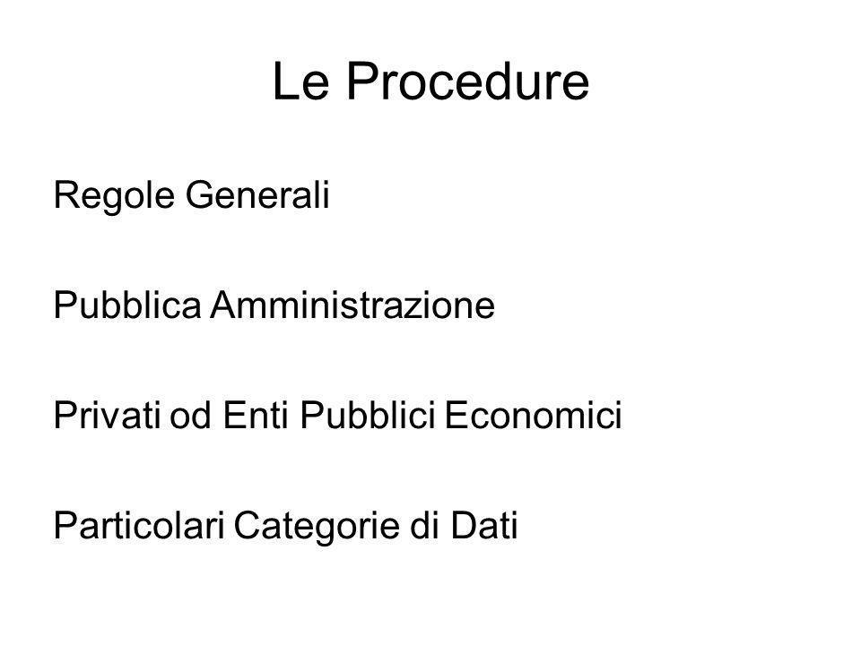 Le Procedure Regole Generali Pubblica Amministrazione Privati od Enti Pubblici Economici Particolari Categorie di Dati