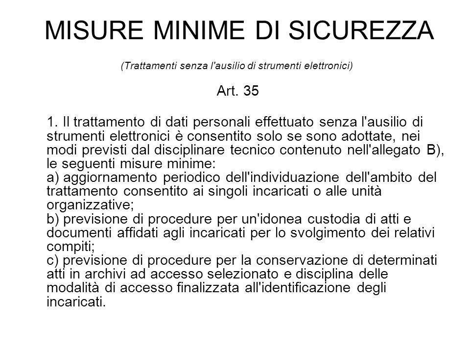 MISURE MINIME DI SICUREZZA (Trattamenti senza l ausilio di strumenti elettronici) Art.