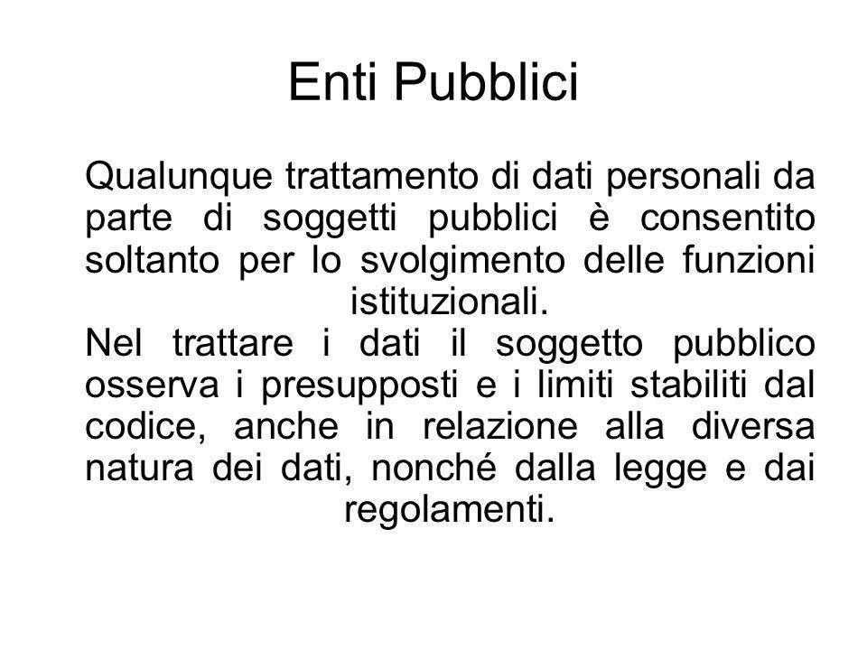 Enti Pubblici Qualunque trattamento di dati personali da parte di soggetti pubblici è consentito soltanto per lo svolgimento delle funzioni istituzionali.