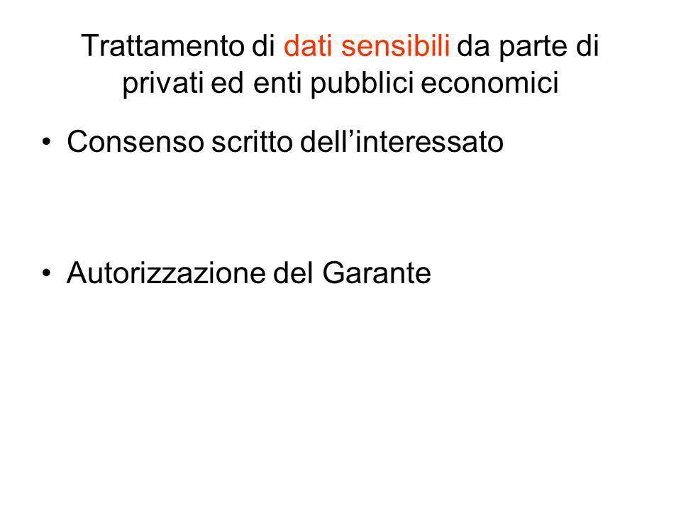 Trattamento di dati sensibili da parte di privati ed enti pubblici economici Consenso scritto dellinteressato Autorizzazione del Garante